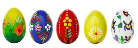 Uova di Pasqua dipinte a mano isolate su bianco Modelli della primavera Fotografia Stock Libera da Diritti