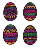 Uova di Pasqua Disegnate a mano variopinte Fotografia Stock Libera da Diritti