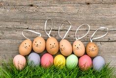 Uova di Pasqua divertenti dei coniglietti in erba verde Decorazione sveglia Immagini Stock Libere da Diritti