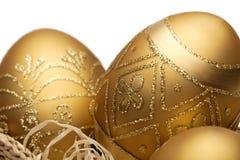 Uova di Pasqua dorate Fotografia Stock