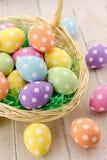 Uova di Pasqua e canestri Fotografie Stock