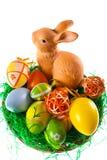 Uova di Pasqua e coniglietto Fotografie Stock