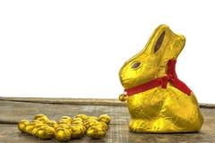 Uova di Pasqua E coniglietto del cioccolato Fotografia Stock