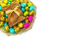 Uova di Pasqua E coniglietto del cioccolato Fotografie Stock Libere da Diritti