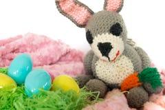 Uova di Pasqua e coniglietto a foglie rampanti di amigurumi Fotografie Stock Libere da Diritti