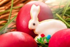 Uova di Pasqua e coniglio del pan di zenzero Fotografia Stock Libera da Diritti