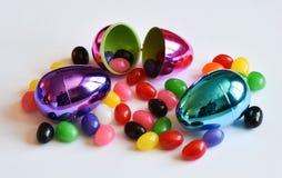 Uova di Pasqua E fagioli di gelatina Fotografia Stock Libera da Diritti