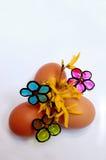 Uova di Pasqua e fiori Immagine Stock