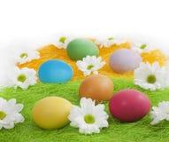 Uova di Pasqua e fiori Immagine Stock Libera da Diritti