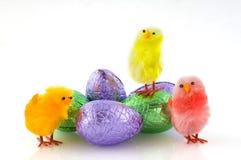 Uova di Pasqua e polli Fotografia Stock Libera da Diritti