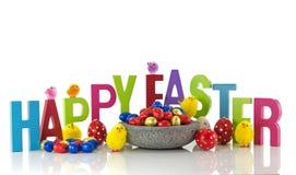 Uova di Pasqua e pulcini felici Fotografia Stock Libera da Diritti