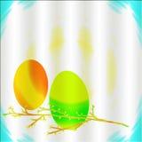 Uova di Pasqua e ramoscelli dipinti Fotografia Stock Libera da Diritti