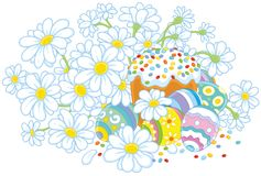 Uova di Pasqua e un dolce con i fiori Immagini Stock Libere da Diritti