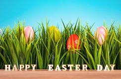 Uova di Pasqua In erba verde Decorazione festiva fotografie stock