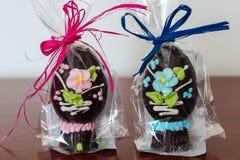 Uova di Pasqua fatte a mano del cioccolato Fotografia Stock