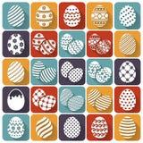 Uova di Pasqua Icone piane di vettore messe Fotografia Stock