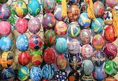 Uova di Pasqua incerate variopinte dell'ucranino Fotografia Stock