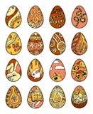Uova di Pasqua a mano libera su fondo bianco Fotografia Stock