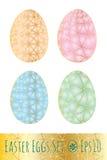 Uova di Pasqua messe con il modello Illustrazione di vettore Fotografia Stock