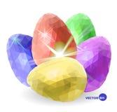 Uova di Pasqua messe per voi Pasqua felice Il pollo variopinto eggs- blu, rosso, verde, la viola e l'oro con la luce di lustro ve Immagini Stock