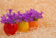 Uova di Pasqua multicolori con i fiori Fotografia Stock Libera da Diritti