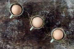 Uova di Pasqua naturali non colorate in tazze verdi del caffè espresso, concetto felice di pasqua, retro pasqua Fotografia Stock