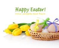 Uova di Pasqua nel canestro e nei tulipani gialli isolati su bianco Fotografie Stock Libere da Diritti