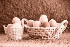 Uova di Pasqua Nel cestino fotografia stock libera da diritti