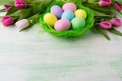 Uova di Pasqua nel fondo verde del nido Fotografie Stock