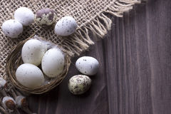 Uova di Pasqua nel nido su tela da imballaggio Fotografie Stock