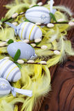 Uova di Pasqua in nido ed in piuma Immagine Stock Libera da Diritti
