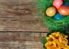 Uova di Pasqua in nido su vecchio fondo di legno Immagine Stock Libera da Diritti