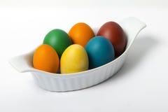 Uova di Pasqua organiche in una casseruola Fotografia Stock Libera da Diritti