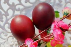 Uova di Pasqua rosso scuro dipinte su un piatto openwork del pizzo bianco al sole immagine stock