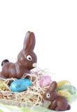 Uova di Pasqua Spostate variopinte del cioccolato Immagini Stock