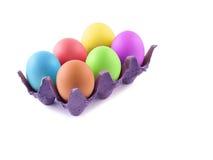 Uova di Pasqua Su bianco Fotografia Stock Libera da Diritti