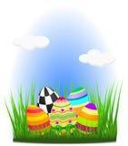Uova di Pasqua Su erba Illustrazione di Stock