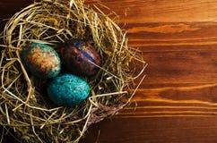 Uova di Pasqua Su un fondo di legno Uova di Pasqua del co differente Immagini Stock