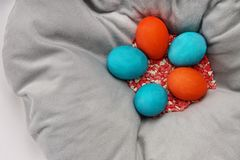 Uova di Pasqua sui precedenti bianchi Fotografia Stock