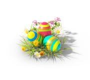 Uova di Pasqua sul bianco Fotografie Stock
