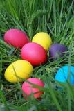 Uova di Pasqua sull'erba Immagini Stock Libere da Diritti