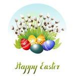 Uova di Pasqua sull'erba e sul purulento-salice Illustrazione di vettore Fotografie Stock Libere da Diritti
