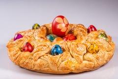 Uova di Pasqua, tecnica speciale con la buccia della cipolla Fotografia Stock