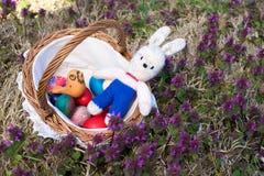 Uova di Pasqua in un baske di legno fotografie stock