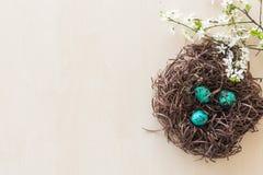 Uova di Pasqua in un nido del ramo Immagini Stock Libere da Diritti