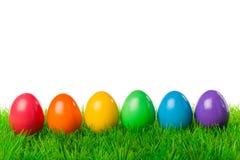 Uova di Pasqua in una fila Fotografia Stock Libera da Diritti