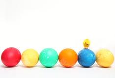 Uova di Pasqua In una riga ed in un piccolo pulcino Fotografie Stock Libere da Diritti