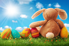 Uova di Pasqua variopinte Fotografie Stock