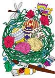 Uova di Pasqua variopinte in ciotola dell'erba Immagini Stock