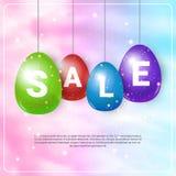 Uova di Pasqua variopinte con i simboli di vendita che appendono sul fondo del modello stagionale e sulla progettazione del manif royalty illustrazione gratis